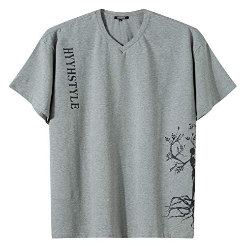 HYYH TAYLOR Men's Couple Skull Skeleton T-Shirts Funny Graphic Casual V Neck Tees Grey M