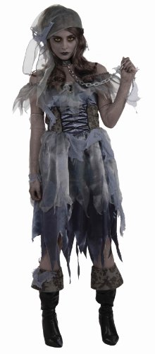 Pirate Wench Zombie Ghost Caribbean Girl Fancy Dress Halloween Adult Costume, Black/Gray, One Size