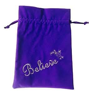 Find Something Different Embroidered Believe/Stars Purple Velvet Tarot Bag 18x13cm
