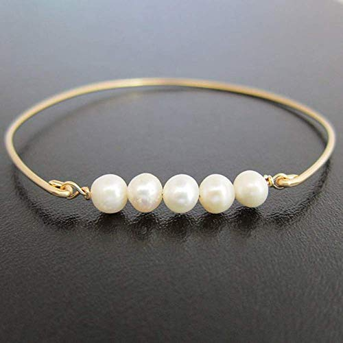Frosted Willow Bridal Jewelry Bridesmaid Gift Cultured Freshwater Pearl Bracelet Claspless (8 ()