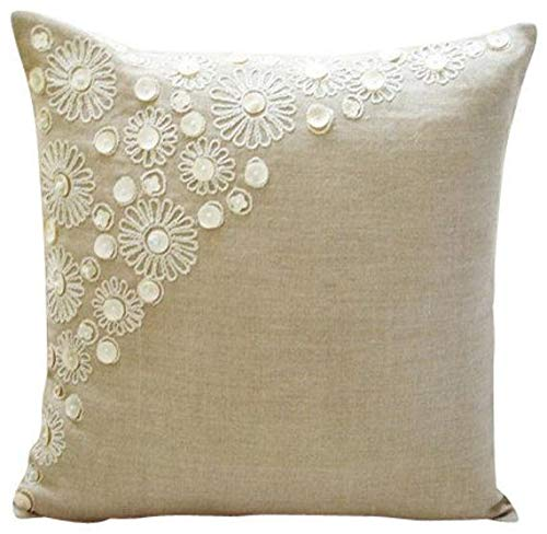 - Ecru Pillow Cases, Pearl Flower Mother Of Pearls Floral Theme Pillows Cover, 18