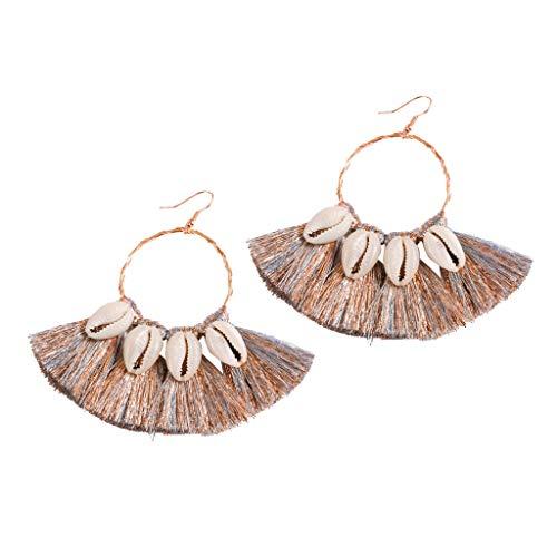Shell Tassel Earrings Bohemian Dangle Drop Handmade Druzy Stud Earrings Gifts for Women Girls (Multicolor)
