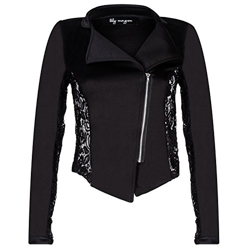 Contenta Women's Moto Blazer. Motorcycle Long Sleeve Contrast Side Zip Jacket. (x-large, black w (Party City Canada Careers)