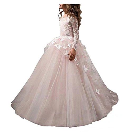 wer Girl Dress Lace Butterflies Appliques First Communion Princess Ball Gown Wedding Dress (Angel Communion Dresses)