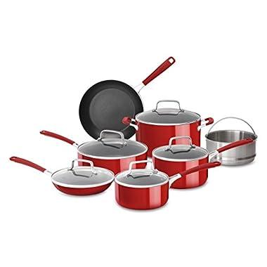 KitchenAid KC2AS12ER Aluminum Nonstick 12 Piece Cookware Set, Empire Red