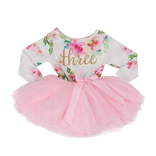 7d1587aef97ad Grace & Lucille Toddler Birthday Dress (3rd Birthday) (Pink Floral Long  Sleeve,