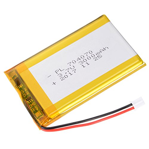 (uxcell Power Supply DC 3.7V 3000mAh 704070 Li-ion Rechargeable Lithium Polymer Li-Po Battery)