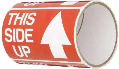 "TapeCase SHIPLBL-088 Printed Red Labelling Tape - (Pack of 50) Adhesive Sticker Tape with White ""This Side up"" Lettering. Labels and Adhesives from TapeCase"