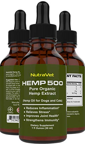 Nutra Oil - Hemp Oil for Dogs -- Cat and Dog Anxiety Relief. All Natural Dog Calming aid - for Cats too. Joint Supplement for Dogs and Cats including Omega 3 6 9 fatty acids -- Pain Relief for Dogs and Cats.