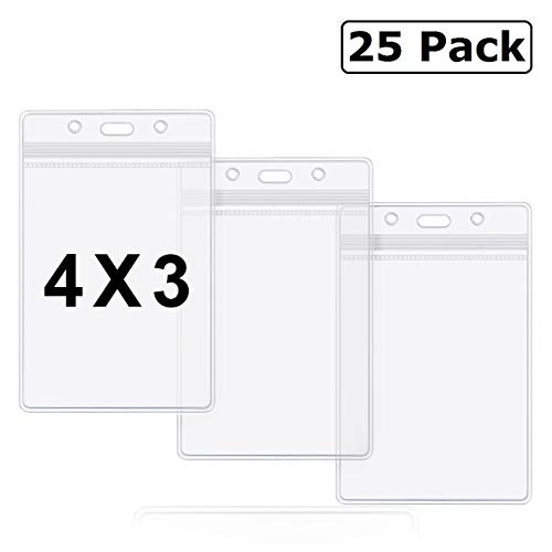 Badge Holder 4x3 Large Vertical Clear Name Tag Badge ID Holders Waterproof by ZHEGUI (25 Pack, Large Vertical 4x3)