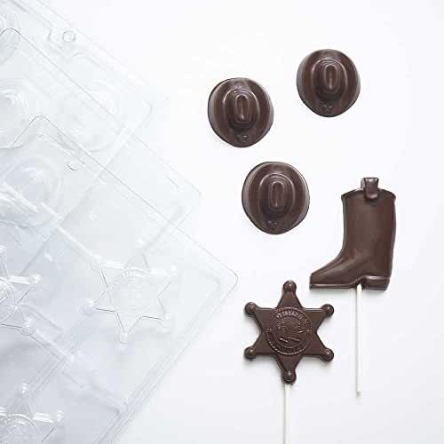Western Cowboy Chocolate Molds (1) Mini Cowboy Hat Candy Mold (1) Cowboy Boot Sucker Candy Mold (1) Sheriff's Badge Sucker Candy Mold