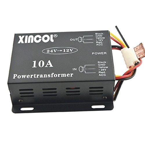 UXOXAS Vehicle Car DC 24V to 12V 10A Power Supply Transformer Converter-Black by UXOXAS
