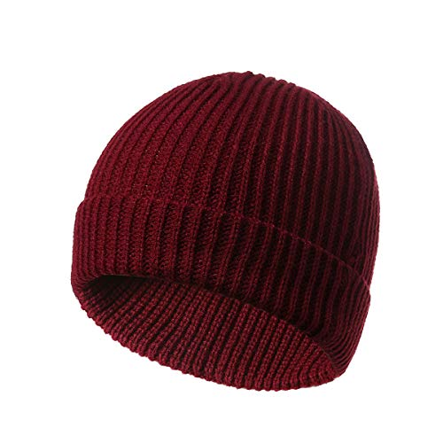 Chunky Soft Stretch Cable Knit Beanie Hair Ball hat Keep Warm Casual(Red One Size)