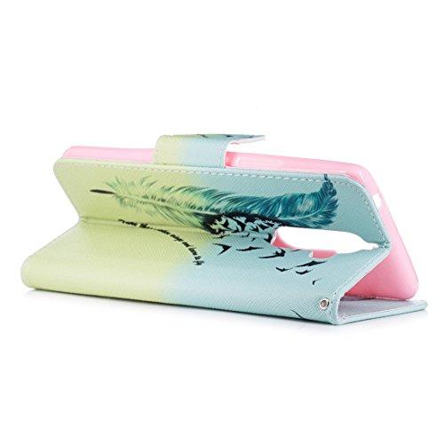 avec Note avec Feather en pour fente cuir Hozor conception en fermeture magnétique PU support portefeuille cas Flip Lenovo de étui aérosol carte K8 protection peint d'impression 6nnqwEBxR4