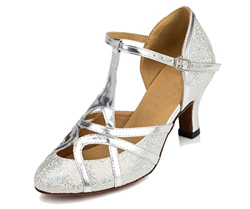 TDA Womens T-Strap Glitter Silver Synthetic Salsa Tango Ballroom Latin Party Dance Shoes CM101 9 M US