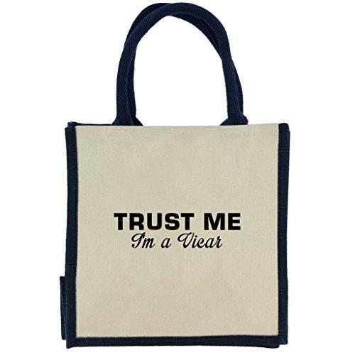Trust Me I m A Pfarrer in schwarz print Jute Midi Einkaufstasche mit Marineblau Griffe und Rand S6Mae23LV3