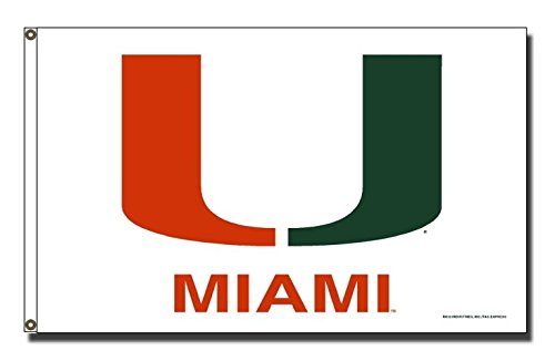 Rico Industries NCAA Miami Hurricanes 3-Foot by 5-Foot Single Sided Banner Flag with Grommets