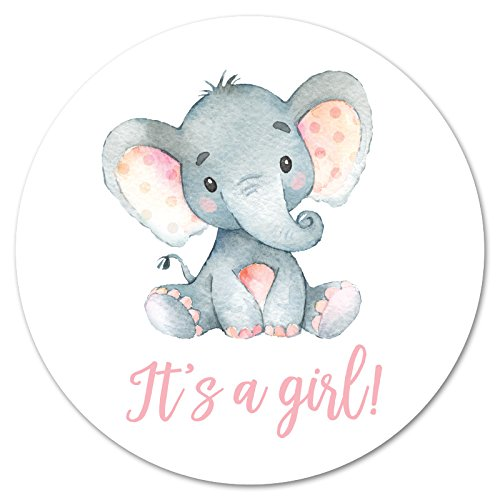 60 cnt It's a Girl Elephant Stickers (Pink)