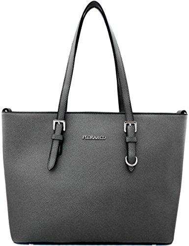 Flora & Co - Bolso de tela para mujer gris gris metálico