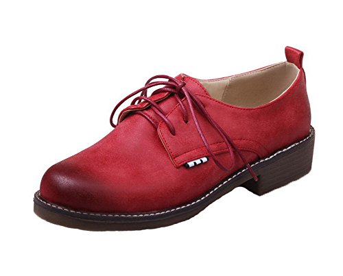 Allhqfashion Dames Lace-up Ronde Neus Lage Hakken Pu Stevige Pumps-schoenen Claret