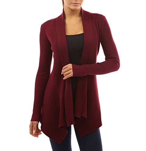 Women' Cardigan Sweaters Cascading Sweatshirt Casual Blouse by Azot (L, Wine Red)