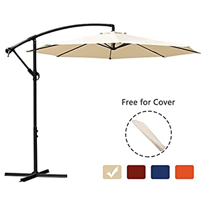MEWAY 10 Ft Offset Cantilever Patio Umbrella Outdoor Market Hanging Umbrellas
