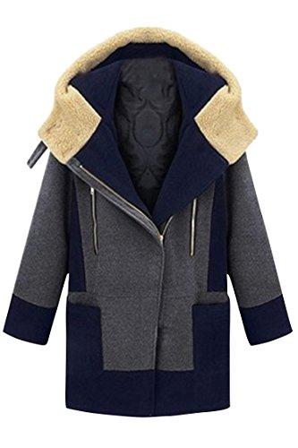 Pink Queen Plus Size 5XL Womens Winter Thicken Fleece Hooded Wool Jacket Coat – X-Large, Grey