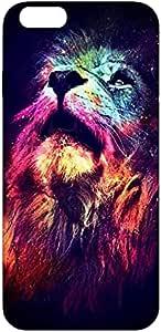 جراب خلفي بطباعة أسد ملون لهاتف ابل ايفون 6 اس من كوفري كيسيز- متعدد الالوان