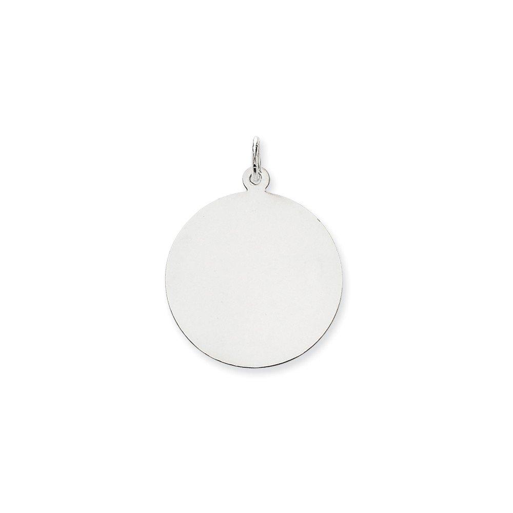 14K White Gold Plain .018 Gauge Round Engravable Disc Charm