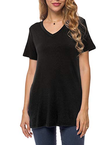 Herou Women's Casual V-Neck Short Sleeve Loose Long T-Shirt Tunic Tops with Side Split (V-Black, Small) ()