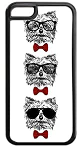 MEIMEI3 Hipster Puppies-Shades and Red Bow Ties- Case for the APPLE iphone 4/4s ONLY-Hard Black Plastic Outer CaseMEIMEI