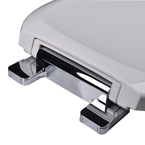 Bath Décor 2F1R8-00CH Premium Plastic Slow Close Round Top Mount Toilet Seat with Adjustable Chrome Hinge outlet