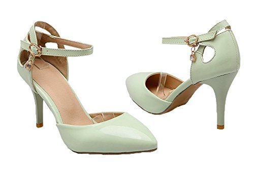 Closed Solid WeenFashion Green Toe Patent High Buckle Women's Sandals Leather Heels qRxwTFUt
