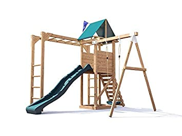 Monkey Bars Climbing Frame Pressure Treated Playhouse Wave Slide