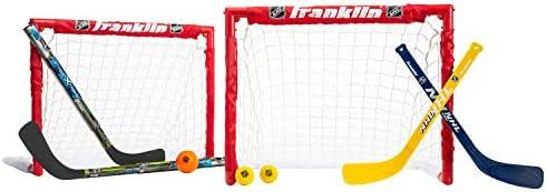 Franklin Sports Kids Folding Hockey 2 Goal Set – NHL – Street Hockey & Knee Hockey – Includes 2 Adjustable Hockey Sticks, 2 Knee Hockey Sticks, 2 Hockey Balls – 24 x 19 x 19 Inch Goal