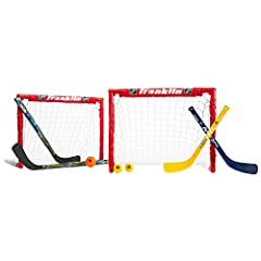 The Franklin Sports NHL Kids Hockey 2 Goal Set includes everything needed to get your hockey game started! Whether playing outdoors or indoors, the set is specifically designed for both Street Hockey & Knee Hockey play, including 2 adjust...