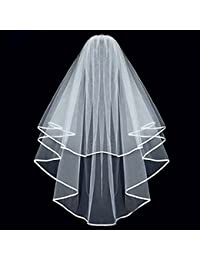 3c1846dbf164 White Double Ribbon Edge Center Cascade Bridal Wedding Veil with Comb