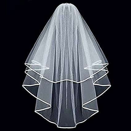 White Double Ribbon Edge Wedding Veil with Comb