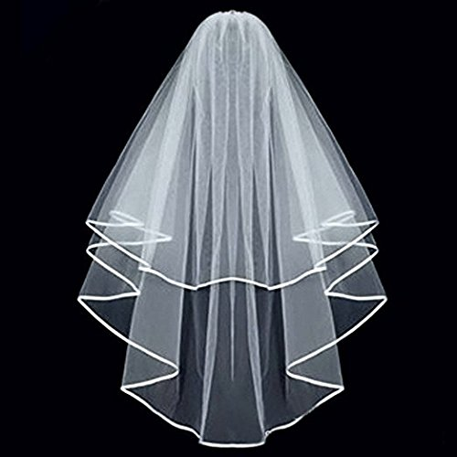 KLOUD City White Double Ribbon Edge Center Cascade Bridal Wedding Veil with -