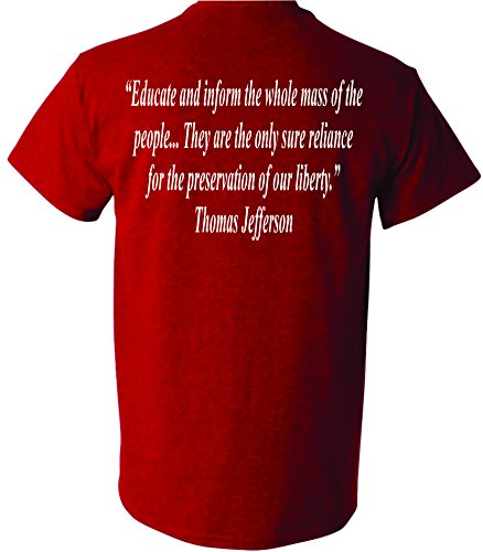 Patriot Apparel Thomas Jefferson Quote Don't Tread On Me DTOM 2nd Amendment Patriotic Presidential President Tee T-Shirt Design Apparel (X-Large, Heather Cherry Red)