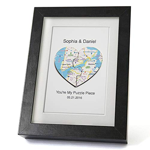 (Personalized Wedding Gift Heart Map Art Print featuring 3D Puzzle Maps and Customized Text Framed)