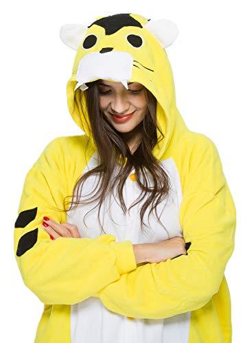 Unisex Animal Halloween Yellow Tiger One-Piece Pyjamas Jumpsuit Cosplay Costumes Adult Womens Men -