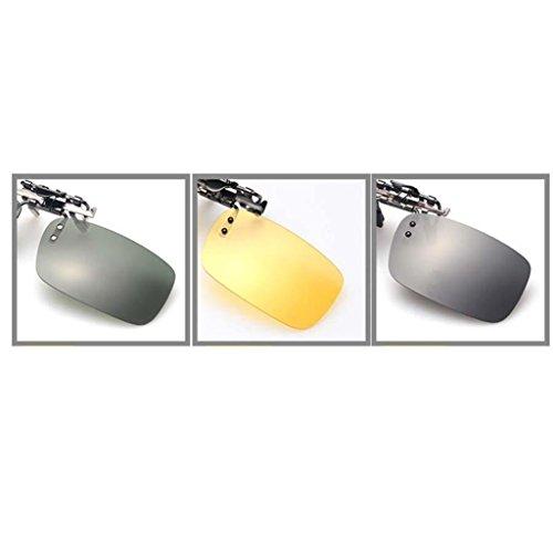 Hombre negro Aire Sol Libre Sharplace para Lentes Clip con Polarizado UV Actividad Rectangular 400 de Protección de Gafas al Conducción TUxxqw7EH