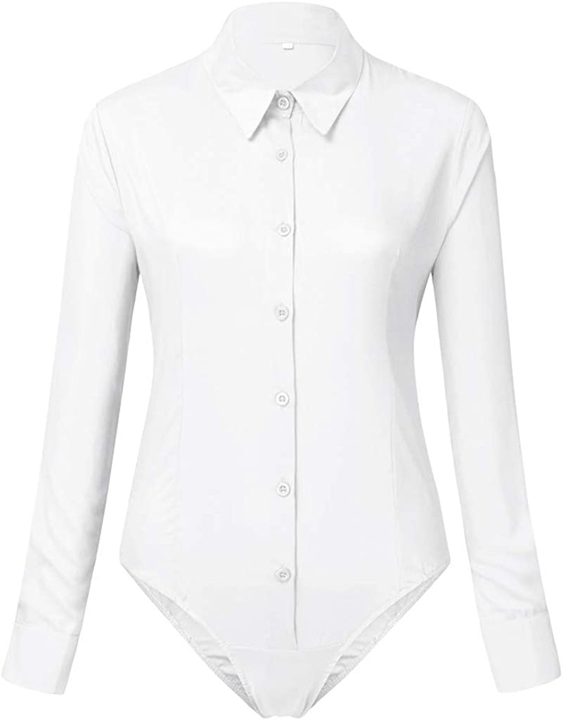 Italily Body Donna Manica Lunga Blusa Camicie Top Tuta Elegante Vintage Bodysuit Pulsante Abbigliamento Shirts Briefs Jumpsuits Slim Carriera Primavera Autunnale Bodysuits