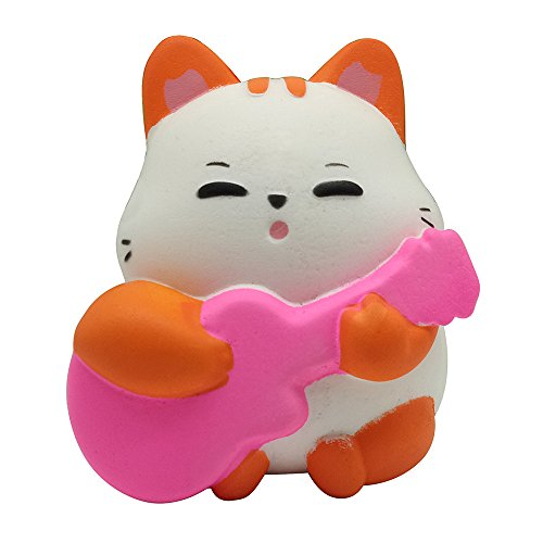 - Drfoytg Halloween Toy Kid Stress Reliever Toy Cute Cat Guitar Squishy Toys Slow Rising Decompression Toy Cream Scented (Orange)