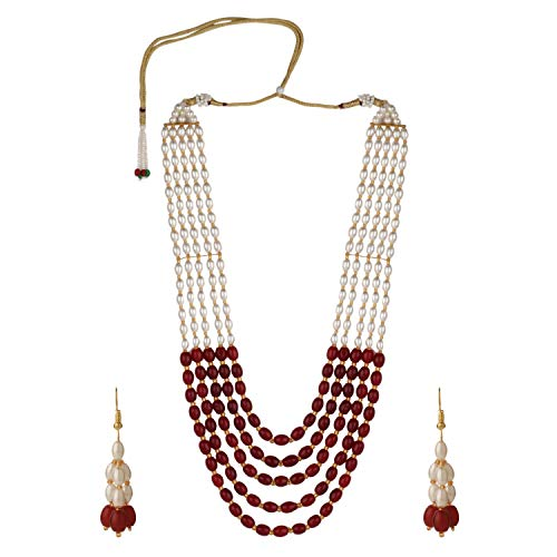 (Efulgenz Indian Bollywood Multi Layered Red Faux Ruby Pearl Beads Bridal Necklace Earrings Wedding Jewelry Set)