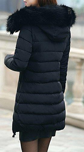 Pelaje Capucha Jacket Espesar Collar Mujer Negro con Yeesea de Chaqueta Abrigo Invierno Parka FxTYq06w