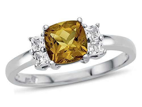 Finejewelers 6x6mm Cushion Citrine and White Topaz Ring 10 kt White Gold Size 4