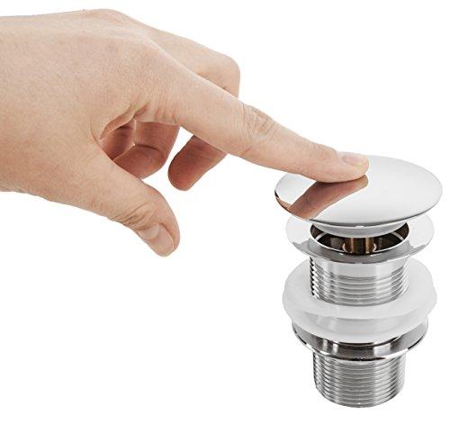 VILSTEIN© Pop-Up Ablauf-ventil Ablaufgarnitur für Waschbecken mit Überlauf, Push-Technik, Chrom
