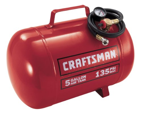 Craftsman 9-15200 5 Gallon Horizontal Air Tank with 135 Pounds Per Square-Inch ()